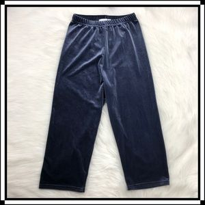 * Topshop Blue Velvet Cropped Capri Pants Casual *